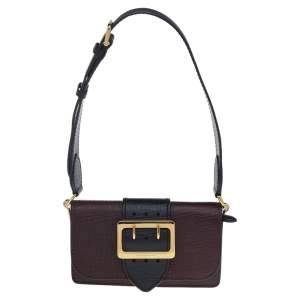 Burberry Burgundy/Black Leather Small Bridle Madison Buckle Shoulder Bag