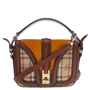 Burberry Multicolor Haymarket Check Coated Canvas And Leather Small Brickfield Crossbody Shoulder Bag