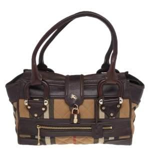 Burberry Beige/Dark Brown Nova Check Canvas And Leather Manor Satchel