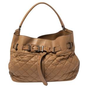 Burberry Brown Quilted Leather Easton Hobo