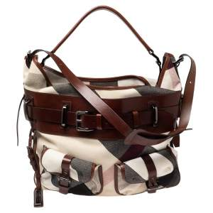 Burberry White/Brown Mega Check Canvas and Leather Front Pocket Hobo