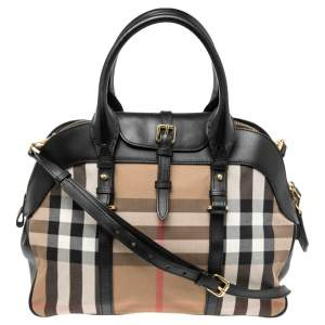 Burberry Multicolor House Check Canvas and Leather Milverton Satchel