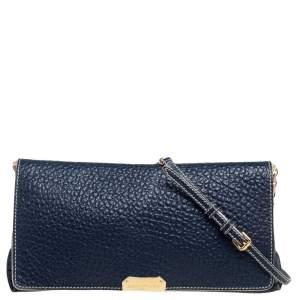 Burberry Blue Grained Leather Madison Flap Shoulder Bag