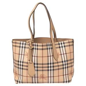Burberry Beige Haymarket Check Leather Small Reversible Tote