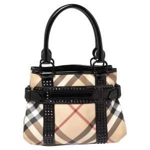 Burberry Black/Beige Nova Check Coated Canvas and Patent Leather Studded Tote