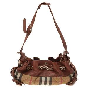 Burberry Beige/Brown Nova Check Canvas And Leather Warrior Hobo