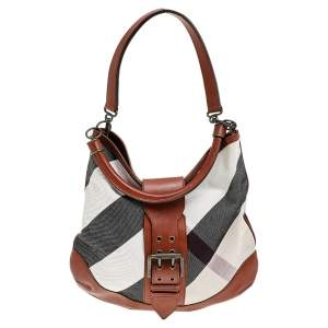 Burberry Multicolor Canvas And Leather Mega Check Hobo