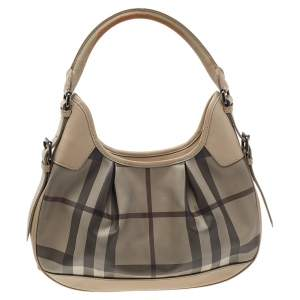 Burberry Beige Smoke Check PVC And Leather Small Brooklyn Hobo