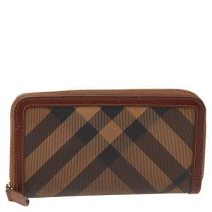 Burberry Brown Coated Canvas And Leather Smoked Check Zip Around Wallet