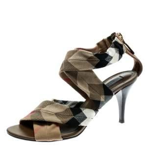 Burberry Beige Nova Check Canvas Cross Straps Platform Sandals Size 40