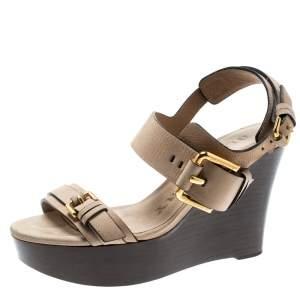 Burberry Beige Leather Buckle Detail Platform Wedge Sandals Size 37
