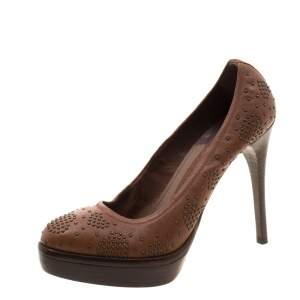 حذاء رياضي بربري نعل سميك مرصع جلد بني مقاس 37.5