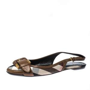 Burberry Brown Nova Check Canvas and Leather Buckle Belt Slingback Flats Size 40