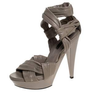 Burberry Beige Leather Back Zip Platform Sandals Size 39