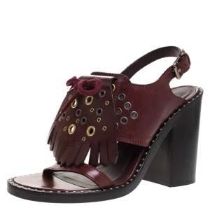 Burberry Burgundy Leather Beverley Fringe Eyelet Embellished Slingback Block Heel Sandals Size 40