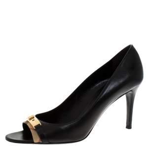 Burberry Black Leather And Canvas Trim Twist Lock Dunlow Peep Toe Pumps Size 41