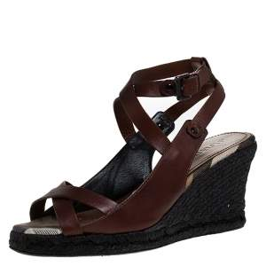 Burberry Brown Leather Cross Strap Espadrille Wedge Sandals Size 39