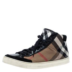 Burberry Black/Beige Check Canvas Painton High Top  Sneakers Size 43
