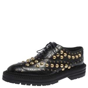 """حذاء أكسفوورد بربري """"ديرداون"""" بنعل سميك و مرصع جلد أسود مقاس 38"""