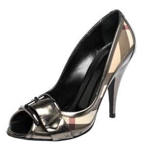 Burberry Metallic Grey Leather And House Check Canvas Buckle Peep Toe Pumps Size 37