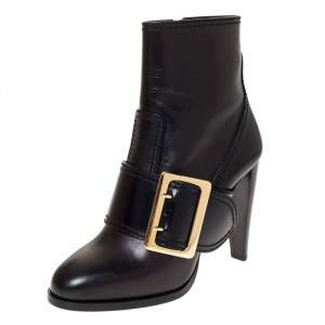 Burberry Black Leather Buckle Ankle Boots Size 40