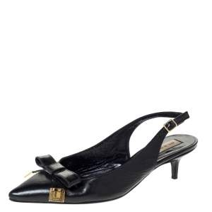 Burberry Black Leather And Patent Bow Slingback Sandals Size 36