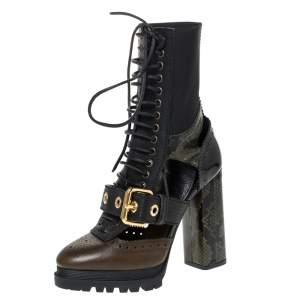 """حذاء بوت بربري """"ويستمارش"""" مزخرف جلد بنمط جلد ثعبان أسود و أخضر زيتوني مقاس 37.5"""