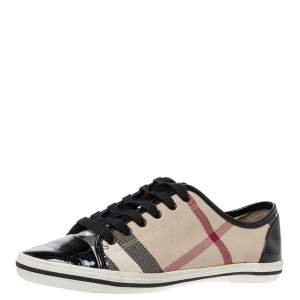 Burberry Beige/Black Nova Check Canvas and Patent Leather Lace Up Sneakers Size 37