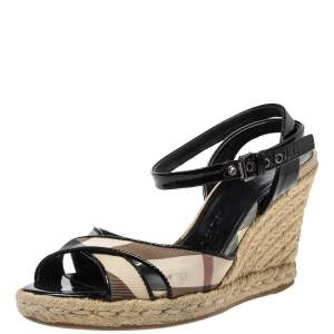 Burberry Black Patent And Novacheck Cross Strap Espadrille Wedge Sandals Size 35