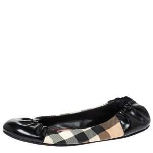 Burberry Black Patent Leather And Nova Check Canvas Scrunch Ballet Flats Size 38
