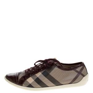Burberry Beige/Burgundy Nova Check Canvas and Patent Leather Lace Up Sneakers Size 40