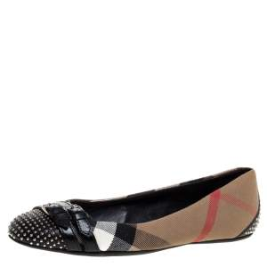 Burberry Beige Nova Check Canvas and Black Studded Leather Buckle Detail Ballet Flats Size 36
