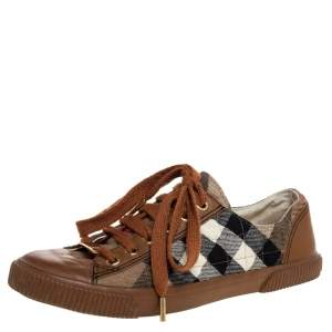 Burberry Brown Leather And Nova Check Quilted Canvas Low Top Sneakers Size 37