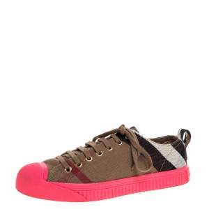 Burberry Pink/Beige Check Canvas And Rubber Low Top Sneakers Size 39