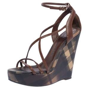 Burberry Brown Leather And Canvas Strappy Wedge Platform Ankle Strap Sandals Size 38