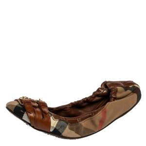 Burberry Brown House Check Canvas and Leather Falcony Scrunch Ballet Flats Size 37.5