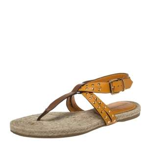 Burberry Brown/Mustard Yellow Leather Studded Thong Ankle Strap Flats Size 39.5