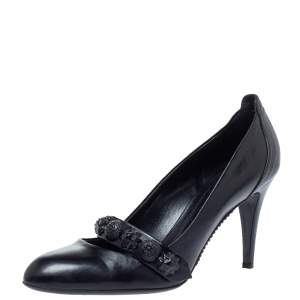 Burberry Black Leather Mary Jane Embellished Pumps Size 41