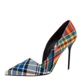 Burberry Multicolor Check Canvas Virna Pointed Toe Pumps Size 40
