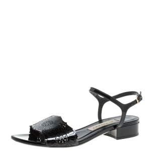 Burberry Black Patent Leather Laser Cut Ankle Strap Flat Sandals Size 37