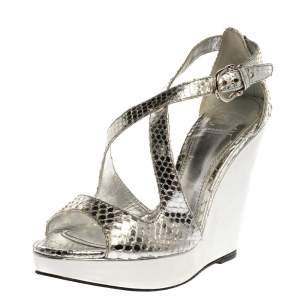Burberry Silver Python Effect Leather Wedge Platform Sandals Size 39