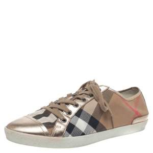 Burberry Metallic Gold Leather And Beige Canvas Low Top Lace Up Sneakers Size 40