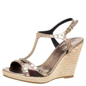 Burberry Metallic Beige Leather and Nova Check Canvas Studded Wedge Espadrilles Sandals Size 37