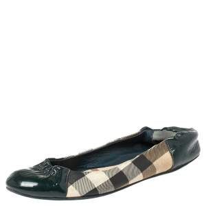 Burberry Green Patent Leather and Nova Check Canvas Scrunch Ballet Flats Size 36.5