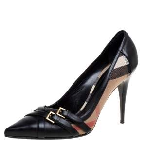 Burberry Black Leather And Novacheck Canvas Buckle Detail Pointed Toe Pumps Size 41