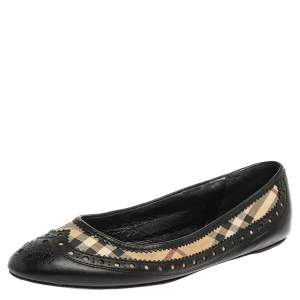 Burberry Black/Beige Nova Check Coated Canvas and Brogue Leather Ballet Flats Size 40