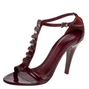 Burberry Burgundy Patent Leather T-Strap Sandals Size 38