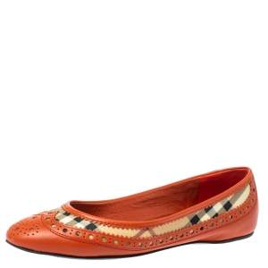 Burberry Orange Brogue Leather And Haymarket Check Canvas Tudor Ballet Flats Size 37
