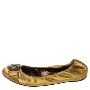 حذاء فلات بربري جلد ساتان ذهبي ميتاليك سكرانش مقاس 37