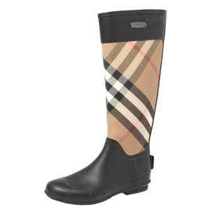 Burberry Black/Beige House Check Canvas And Rubber Clemence Rain Boots Size 36